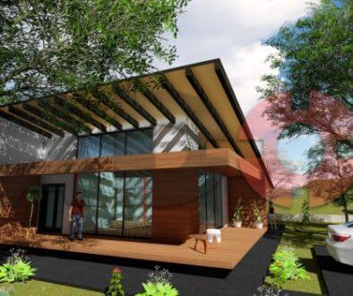 locuinta individuala, casa Splendor, proiect locuinta, parter si mansarda, locuinta incapatoare, Cad-on.ro, curte, gradina, terasa, locuinta mare, geamuri sticla