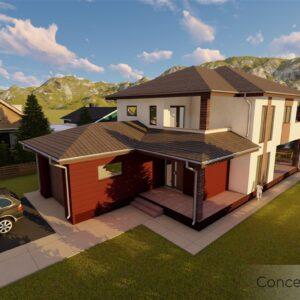 locuinta individuala, casa Bold, proiect locuinta, parter si etaj, locuinta incapatoare, Cad-on.ro, curte, gradina, terasa, locuinta mare