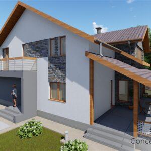 locuinta individuala, casa Comffy, proiect locuinta, parter si mansarda, locuinta incapatoare, Cad-on.ro, curte, gradina, terasa, locuinta mare