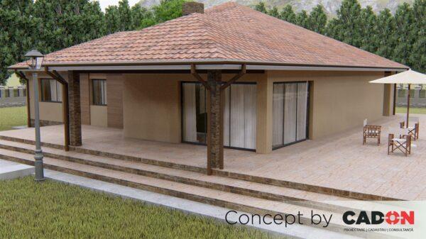 locuinta individuala, casa Cozy, proiect locuinta, parter si mansarda, locuinta incapatoare, Cad-on.ro, curte, gradina, terasa, locuinta mica