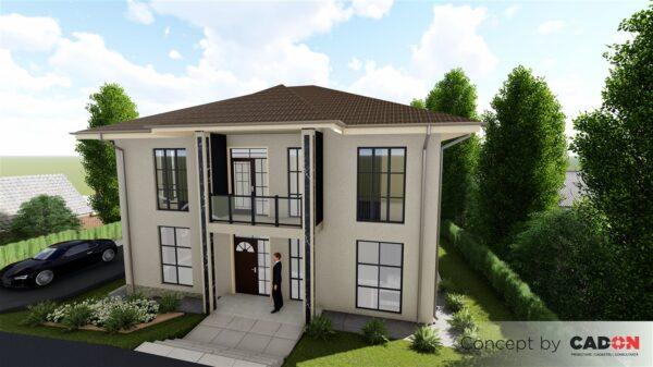 locuinta individuala, casa Glorry, proiect locuinta, parter si etaj, locuinta incapatoare, Cad-on.ro, curte, gradina, terasa, locuinta mare, locuinta impunatoare, geamuri mari sticla