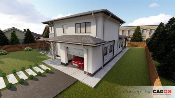 locuinta individuala, casa Quiety, proiect locuinta, parter si etaj, locuinta incapatoare, Cad-on.ro, curte, gradina, terasa, garaj, locuinta mare