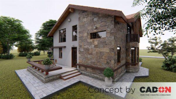 locuinta individuala, casa Serene, proiect locuinta, parter si mansarda, locuinta incapatoare, Cad-on.ro, curte, gradina, terasa, locuinta mare