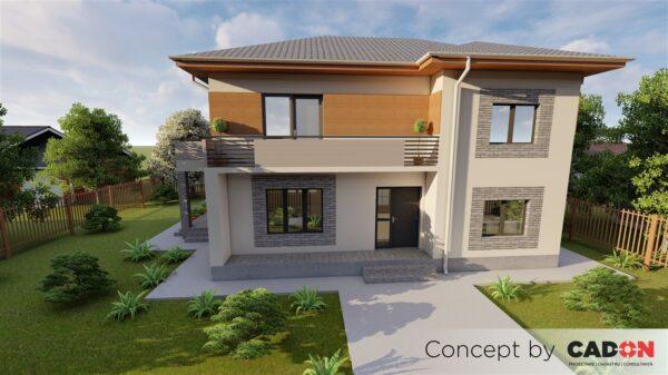 locuinta individuala, casa Zennia, proiect locuinta, parter si etaj, locuinta incapatoare, Cad-on.ro, curte, gradina, terasa, locuinta mica