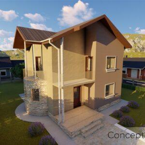 locuinta individuala, casa Amazeda, proiect locuinta, parter si etaj, locuinta incapatoare, Cad-on.ro, curte, gradina, terasa, locuinta mica