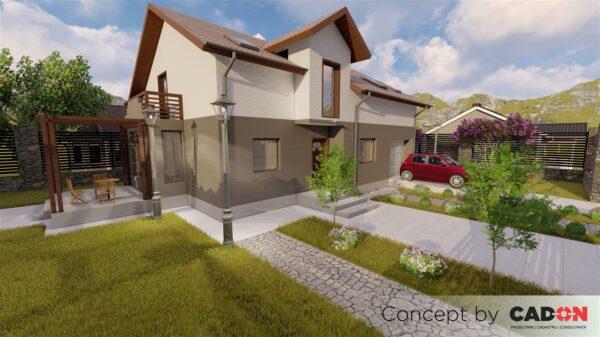locuinta individuala, casa Bald, proiect locuinta, parter si mansarda, locuinta incapatoare, Cad-on.ro, curte, gradina, terasa, locuinta mare
