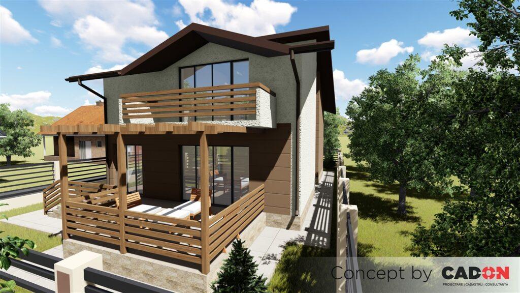 locuinta individuala, casa Enjoyment, proiect locuinta, parter si mansarda, locuinta incapatoare, Cad-on.ro, curte, gradina, terasa, locuinta mare