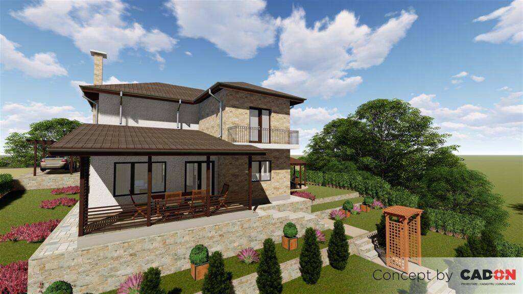 locuinta individuala, casa Exclussive, proiect locuinta, parter si etaj, locuinta incapatoare, Cad-on.ro, curte, gradina, terasa, locuinta mare
