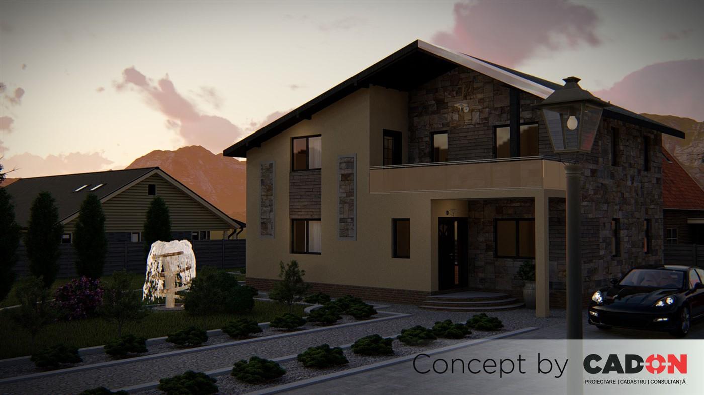 locuinta individuala, casa Exquisite, proiect locuinta, parter si mansarda, locuinta incapatoare, Cad-on.ro, curte, gradina, terasa, locuinta mica
