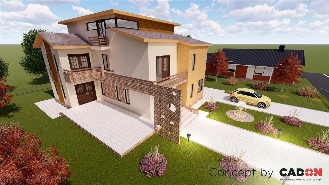 locuinta individuala, casa Extravagance, proiect locuinta, parter, etaj, mansarda, locuinta incapatoare, Cad-on.ro, curte, gradina, terasa, locuinta mare