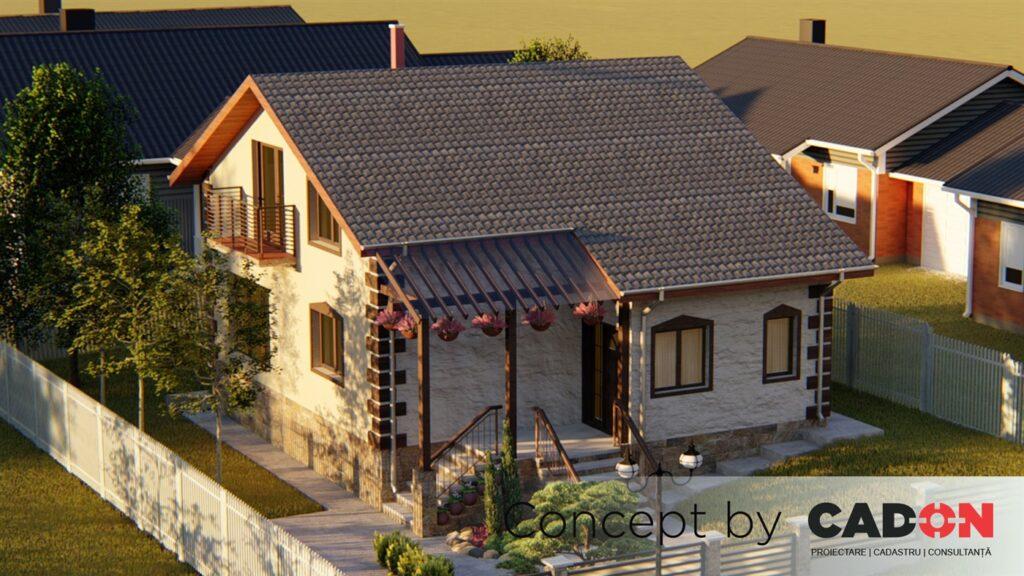 locuinta individuala, casa Fine, proiect locuinta, parter si mansarda, locuinta incapatoare, Cad-on.ro, curte, gradina, terasa, locuinta mica