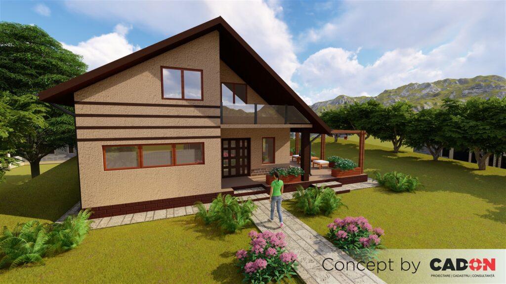 locuinta individuala, casa Garret, proiect locuinta, parter si mansarda, locuinta incapatoare, Cad-on.ro, curte, gradina, terasa, garaj
