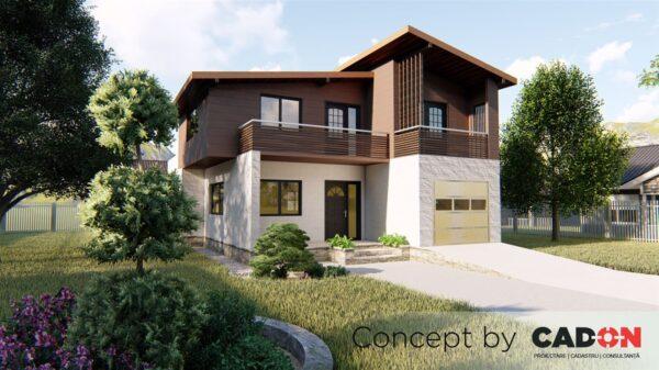 locuinta individuala, casa Gleefully, proiect locuinta, parter si mansarda, locuinta incapatoare, Cad-on.ro, curte, gradina, terasa, garaj, locuinta mica