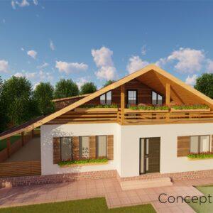 locuinta individuala, casa Harmony, proiect locuinta, parter si mansarda, locuinta incapatoare, Cad-on.ro, curte, gradina, terasa, locuinta mica