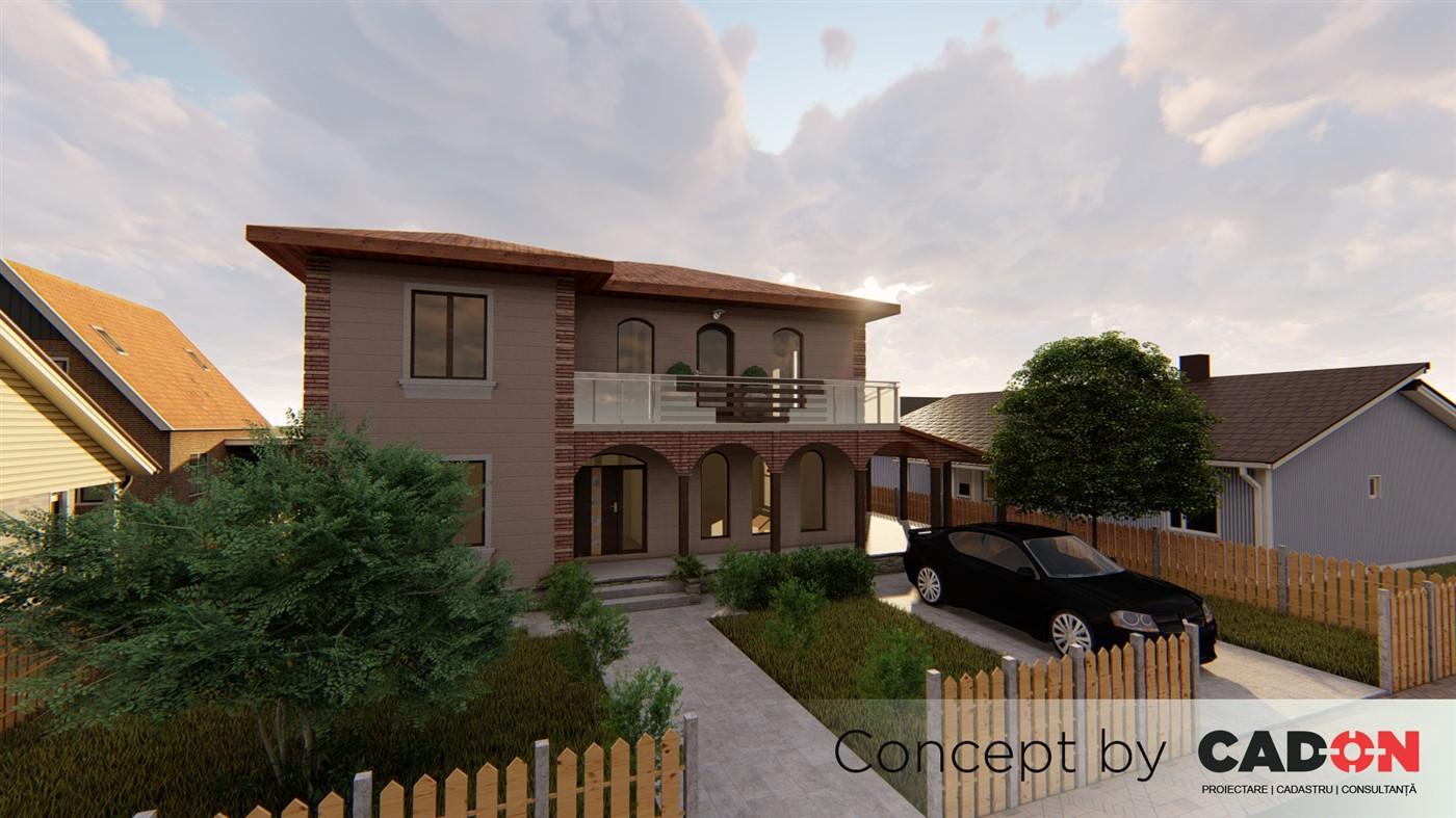 locuinta individuala, casa Homey proiect locuinta, parter si etaj, locuinta incapatoare, Cad-on.ro, curte, gradina, terasa, locuinta mare