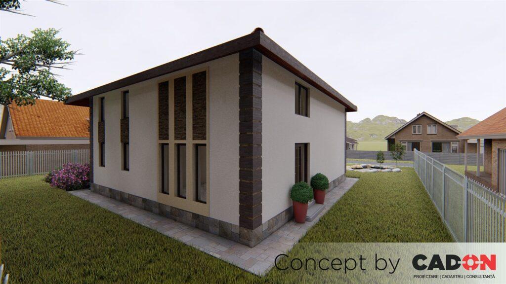 locuinta individuala, casa Propertied, proiect locuinta, parter si mansarda , locuinta incapatoare, Cad-on.ro, curte, gradina, terasa, garaj, locuinta mare