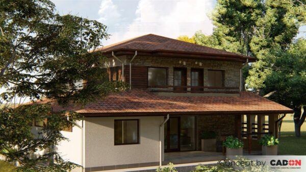 locuinta individuala, casa Russet, proiect locuinta, parter si etaj, locuinta incapatoare, Cad-on.ro, curte, gradina, terasa, garaj, locuinta mare