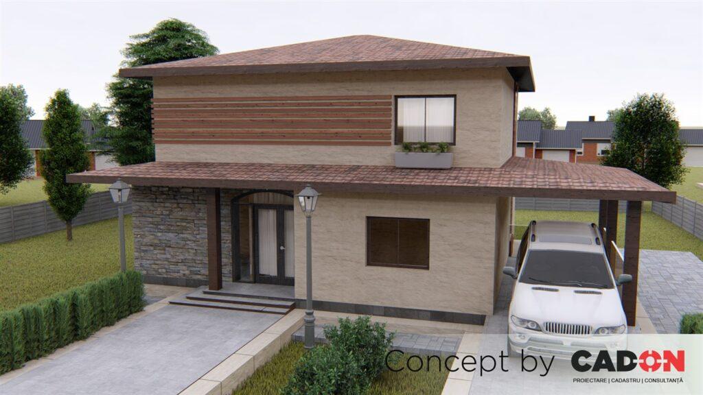 locuinta individuala, casa Still, proiect locuinta, parter si etaj, locuinta incapatoare, Cad-on.ro, curte, gradina, terasa, locuinta mica