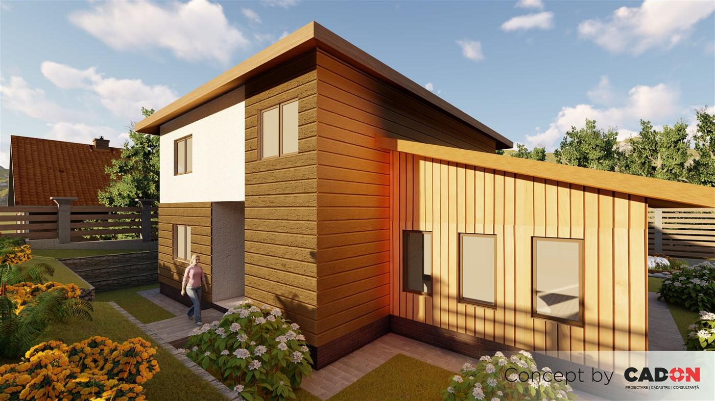 locuinta individuala, casa Welcoming, proiect locuinta, parter si etaj, locuinta incapatoare, Cad-on.ro, curte, gradina, terasa, locuinta mare