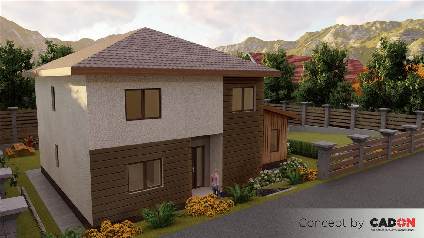 locuinta individuala,casa Welcoming, proiect locuinta, parter si etaj, locuinta incapatoare, Cad-on.ro, curte, gradina, terasa, locuinta mare