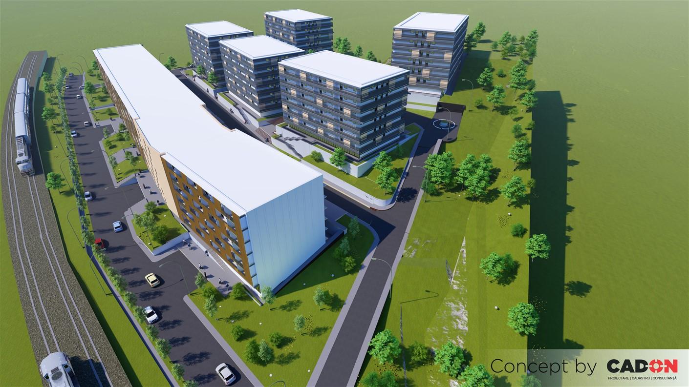 ansamblu colectiv, imobile, 9 imobile, spatii comerciale, parter si 5 etaje, proiect locuinte