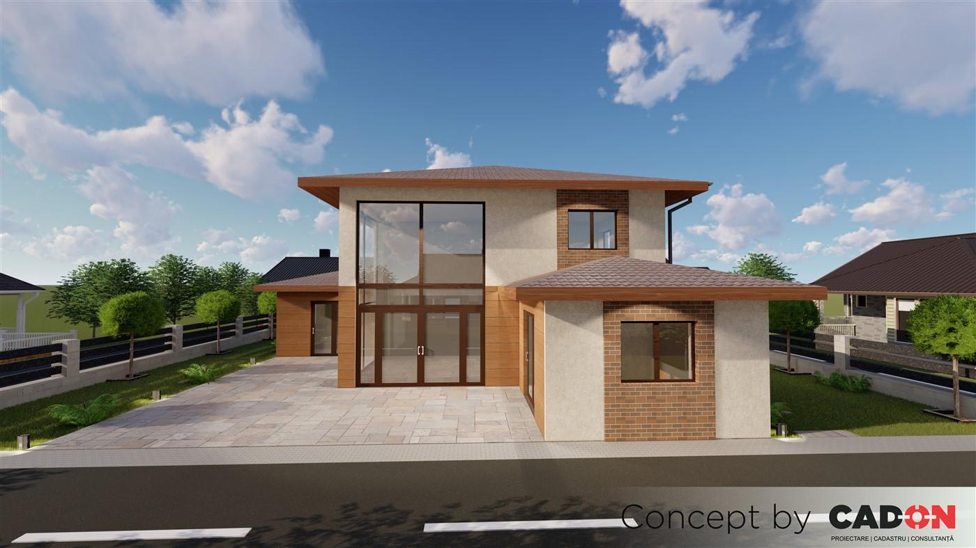 locuinta individuala, casa Brighty, proiect locuinta, parter si etaj, locuinta incapatoare, Cad-on.ro, curte, gradina, terasa, locuinta mare, geamuri mari sticla