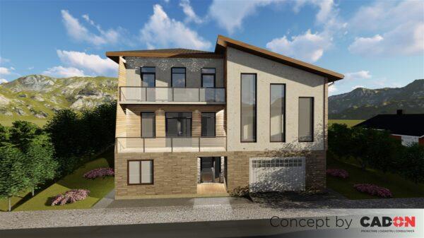 locuinta individuala, casa Cosiness, proiect locuinta, demisol, parter, etaj, locuinta incapatoare, Cad-on.ro, curte, gradina, terasa, locuinta mare, geamuri sticla mari