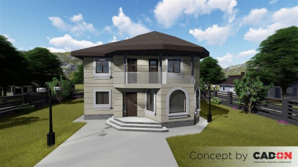 locuinta individuala, casa Lofty, proiect locuinta, parter si etaj, locuinta incapatoare, Cad-on.ro, curte, gradina, terasa, locuinta mare