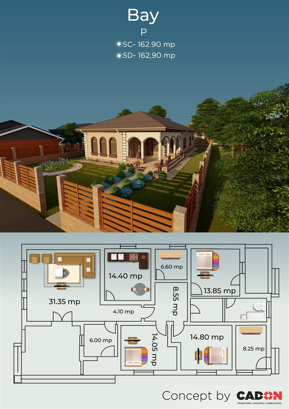 locuinta individuala, casa Bay, proiect locuinta, parter, locuinta incapatoare, Cad-on.ro, curte, gradina, terasa, locuinta mica