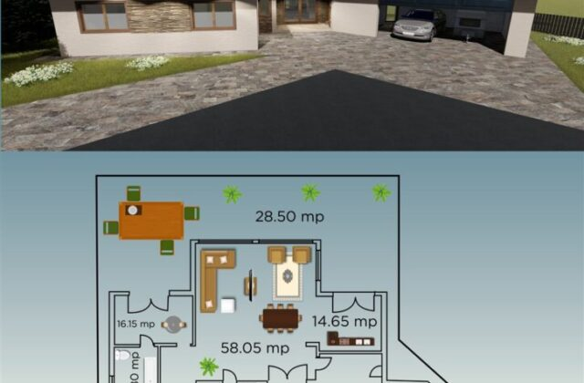 locuinta individuala, casa Charmy, proiect locuinta, parter, locuinta incapatoare, Cad-on.ro, curte, gradina, terasa, locuinta mare, geamuri mari sticla, garaj