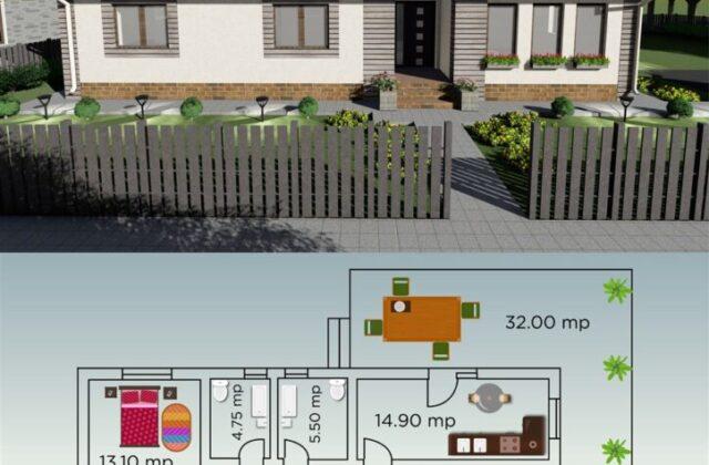 locuinta individuala, casa Clarence, proiect locuinta, parter, locuinta incapatoare, Cad-on.ro, curte, gradina, terasa, locuinta mica