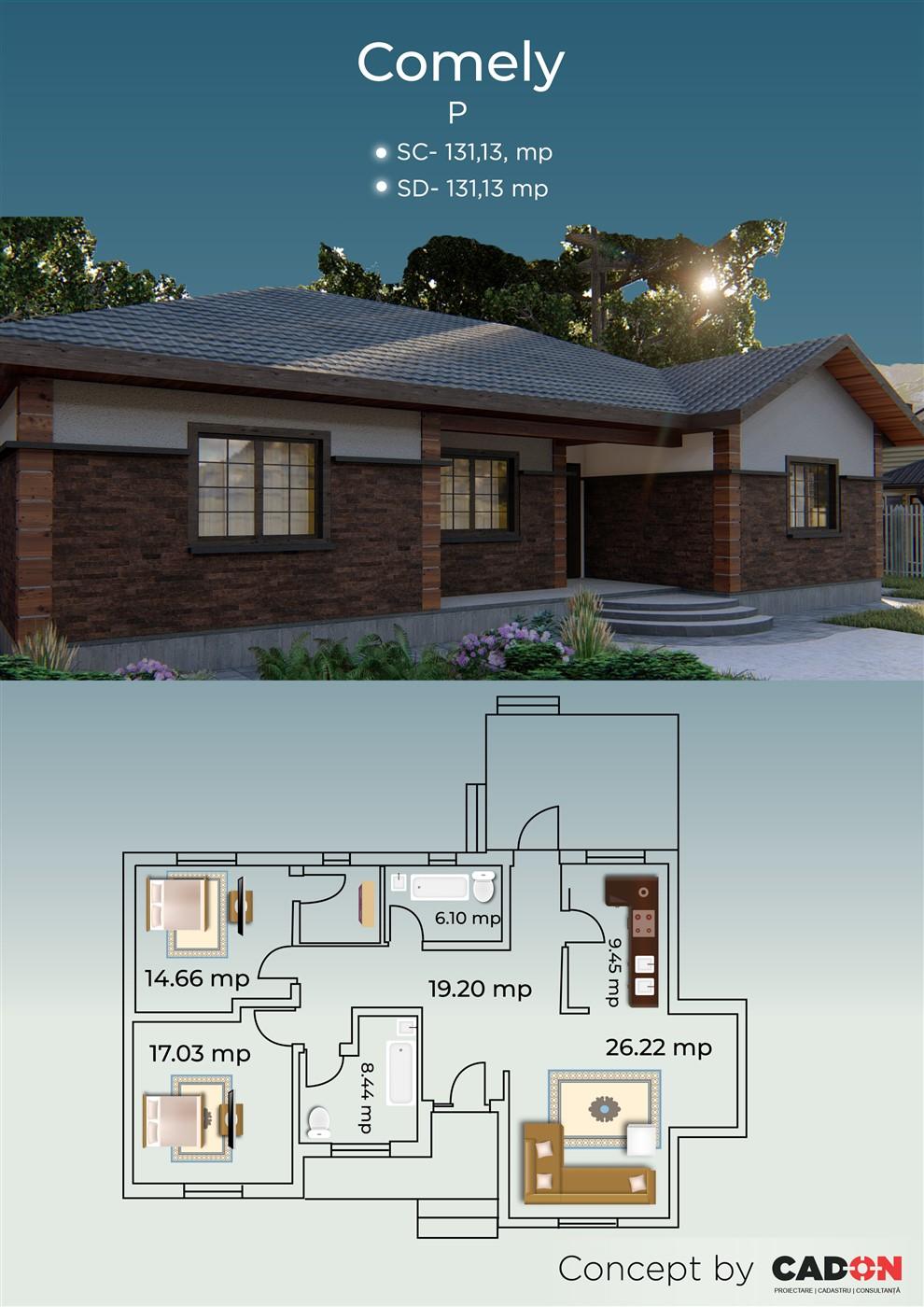 locuinta individuala, casa Comely, proiect locuinta, parter, locuinta incapatoare, Cad-on.ro, curte, gradina, terasa, locuinta mica