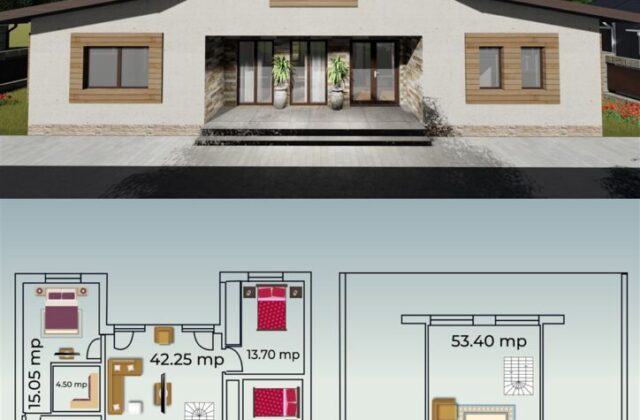 locuinta individuala, casa Delighty, proiect locuinta, parter si mansarda, locuinta incapatoare, Cad-on.ro, curte, gradina, terasa, locuinta mare, geamuri sticla mari