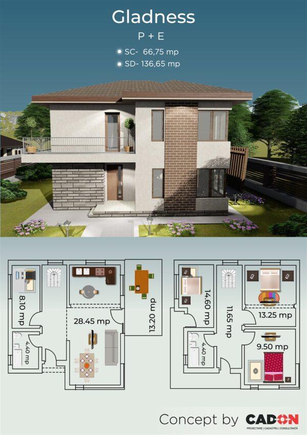 locuinta individuala, casa Gladness, proiect locuinta, parter si etaj, locuinta incapatoare, Cad-on.ro, curte, gradina, terasa, locuinta mica