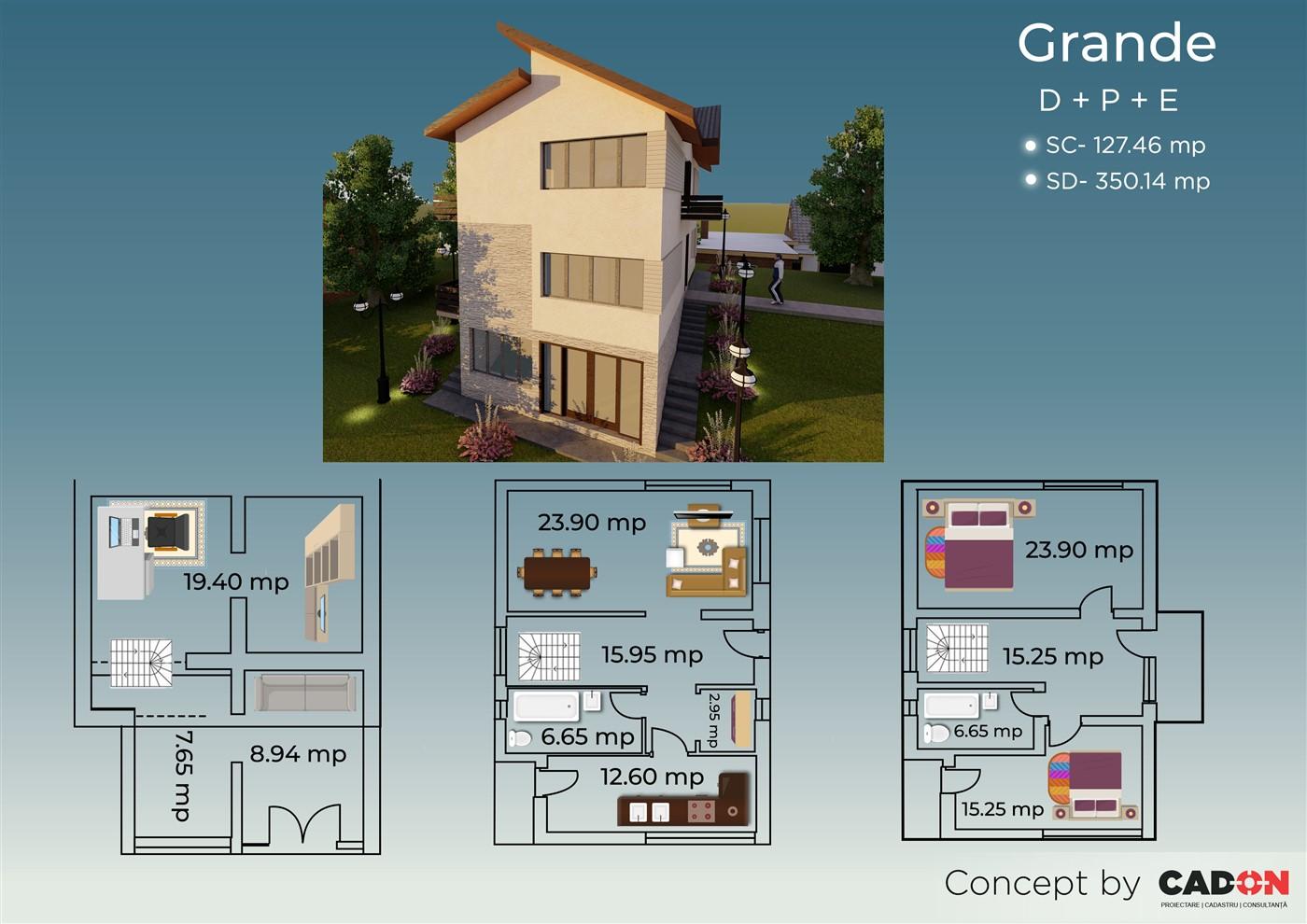 locuinta individuala, casa Grande, proiect locuinta, demisol, parter si etaj locuinta incapatoare, Cad-on.ro, curte, gradina, terasa, locuinta mare