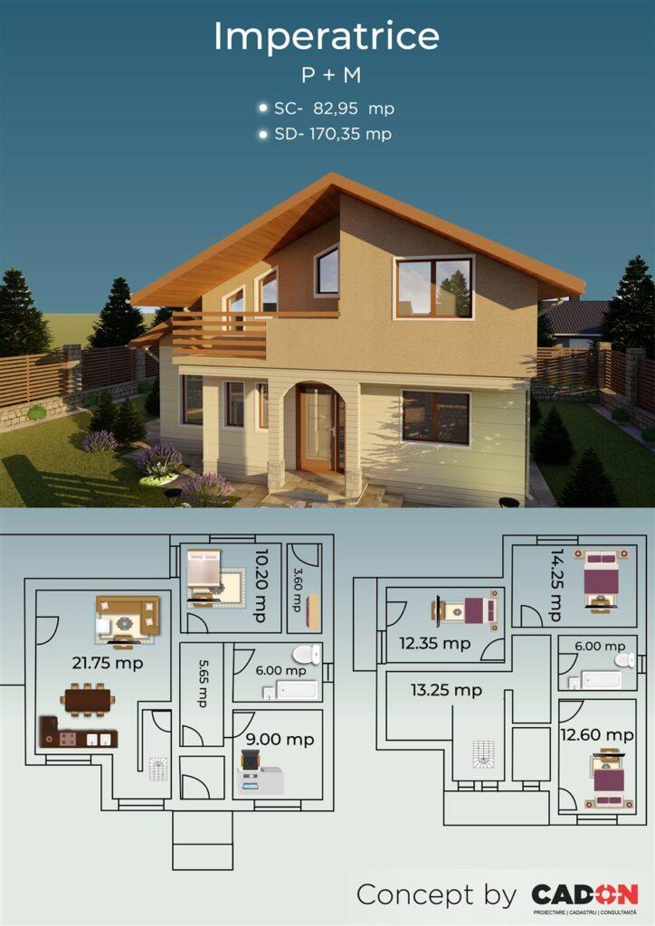 locuinta individuala, casa Imperatrice, proiect locuinta, parter si mansarda, locuinta incapatoare, Cad-on.ro, curte, gradina, terasa, locuinta mica