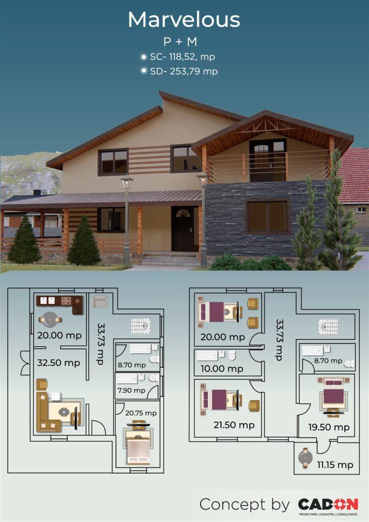 locuinta individuala, casa Marvelous, proiect locuinta, parter si mansarda, locuinta incapatoare, Cad-on.ro, curte, gradina, terasa, locuinta mare