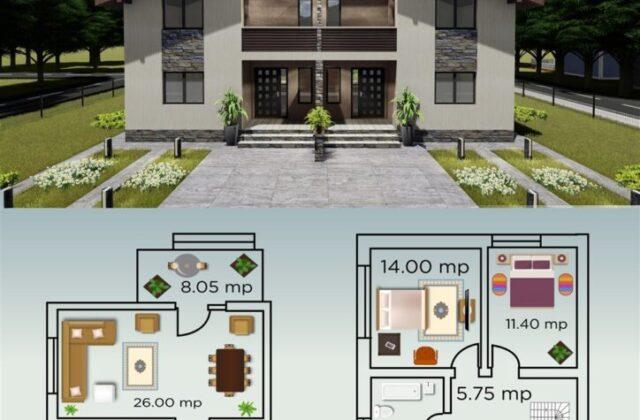 duplex Musse, proiect locuinta, locuinta individuala, parter si etaj, locuinta incapatoare, Cad-on.ro, curte, gradina