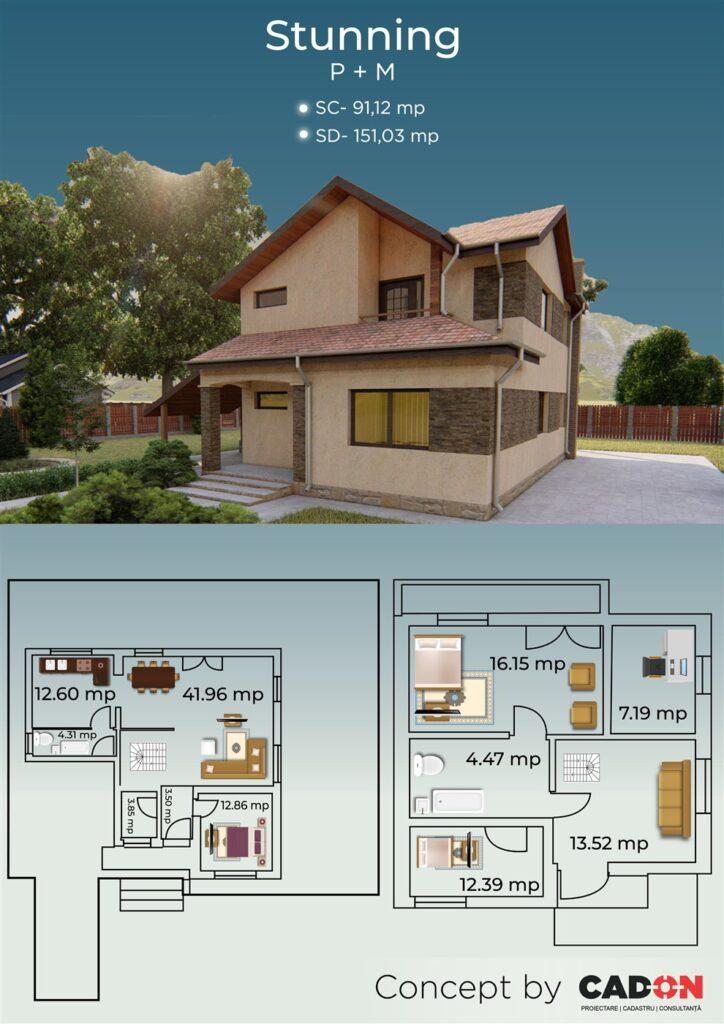 locuinta individuala, casa Stunning, proiect locuinta, parter si mansarda, locuinta incapatoare, Cad-on.ro, curte, gradina, terasa, locuinta mica
