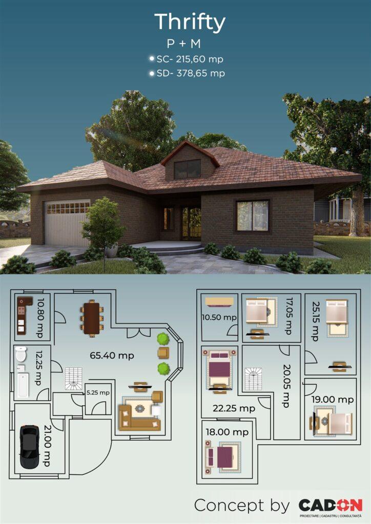 locuinta individuala, casa Thrifty, proiect locuinta, parter si mansarda, locuinta incapatoare, Cad-on.ro, curte, gradina, terasa, garaj, locuinta mare