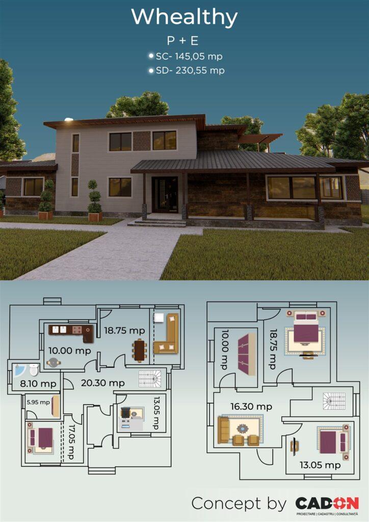 locuinta individuala, casa Whealthy, proiect locuinta, parter si etaj, locuinta incapatoare, Cad-on.ro, curte, gradina, terasa, locuinta mare