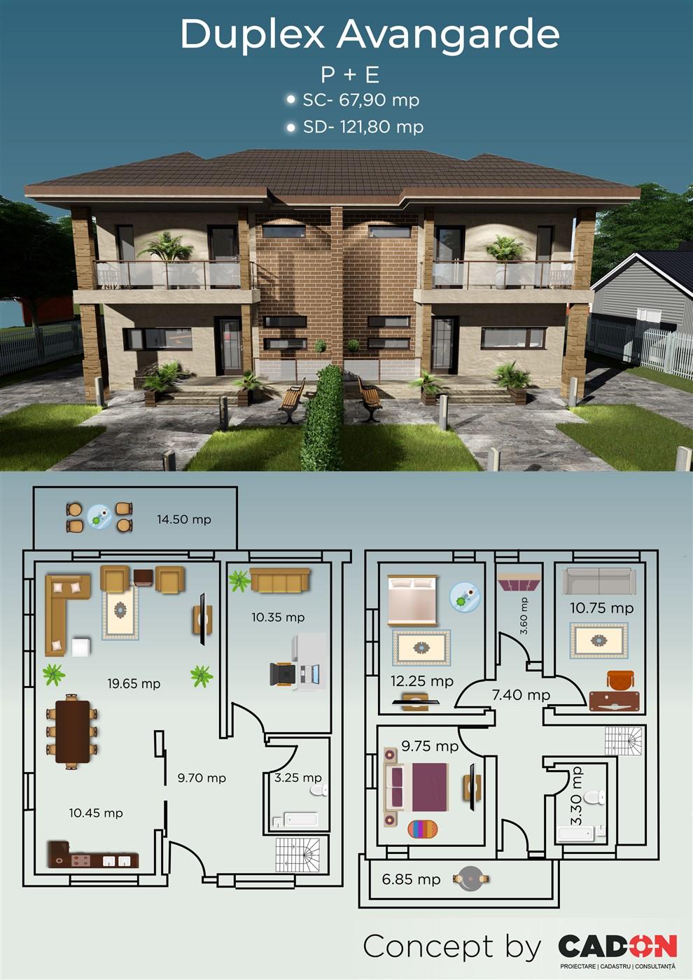 locuinta individuala, casa Avangarde, duplex, proiect locuinta, parter si mansarda, locuinta incapatoare, Cad-on.ro, curte, gradina, terasa, locuinta mica