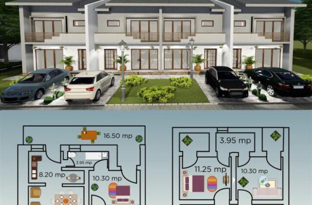 locuinte insiruite Elysium, proiect locuinta, ansamblu locuinte, parter si etaj, locuinta incapatoare, Cad-on.ro