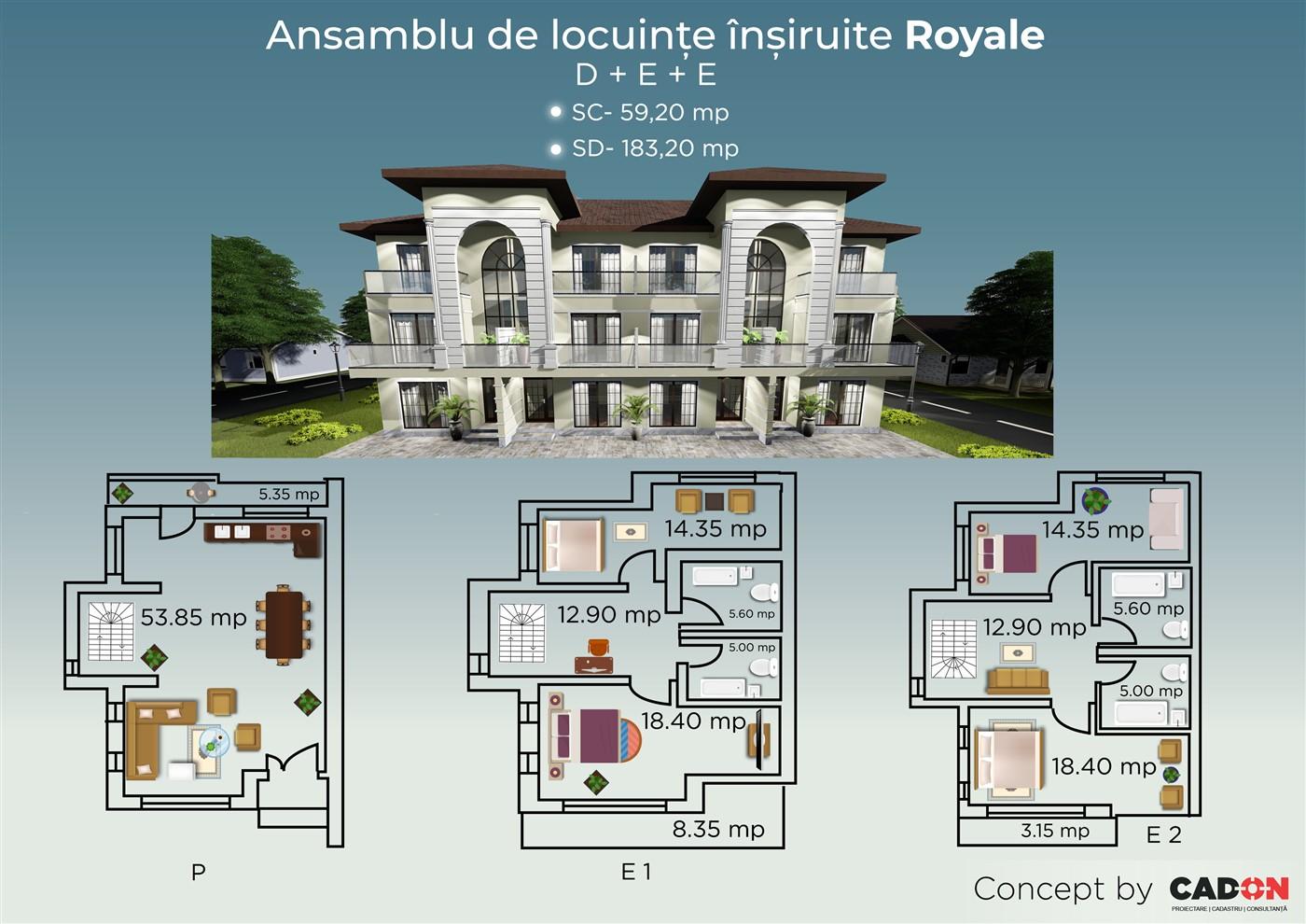 locuinte insiruite Royale, proiect locuinta, ansamblu locuinte, parter si doua etaje, locuinta incapatoare, Cad-on.ro