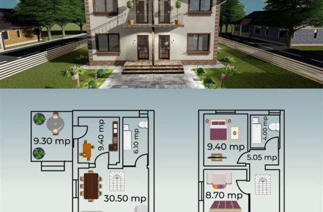 duplex Charlotte, proiect locuinta, locuinta individuala, parter si etaj, locuinta incapatoare, Cad-on.ro, curte, gradina