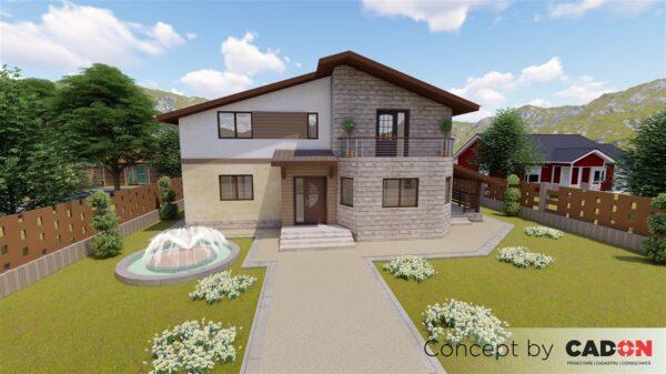 locuinta individuala, casa Satisfaction, proiect locuinta, parter si mansarda, locuinta incapatoare, Cad-on.ro, curte, gradina, terasa, locuinta mare