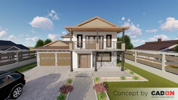 locuinta individuala, casa Sparklingly proiect locuinta, parter si etaj, locuinta incapatoare, Cad-on.ro, curte, gradina, terasa, locuinta mare