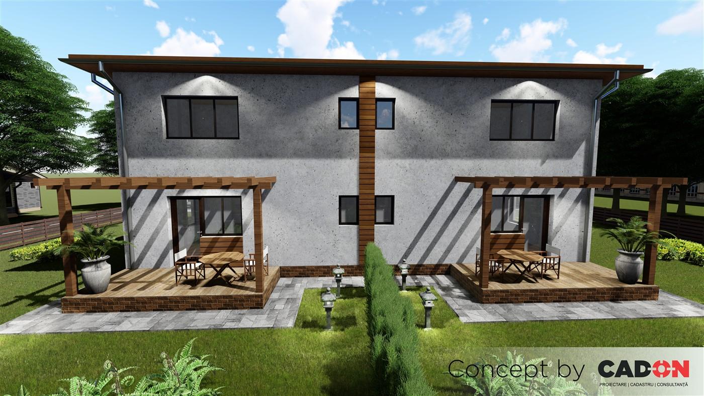 duplex Ravisantte, proiect locuinta, locuinta individuala, parter si etaj, locuinta incapatoare, Cad-on.ro, curte, gradina