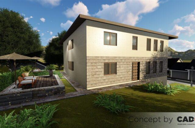 duplex Rivendell, proiect locuinta, locuinta individuala, demisol, parter si etaj, locuinta incapatoare, Cad-on.ro, curte, gradina