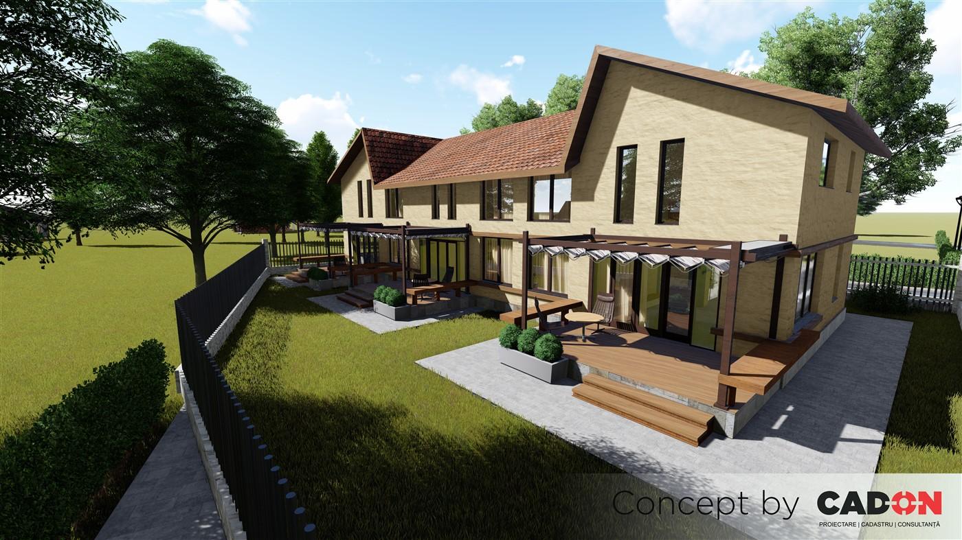 triplex Millstone, proiect locuinta, locuinta individuala, parter si etaj, locuinta incapatoare, Cad-on.ro, gradina, terasa